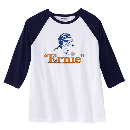 Ernie the Play Logo Navy Baseball Tee, Mid-sleeves