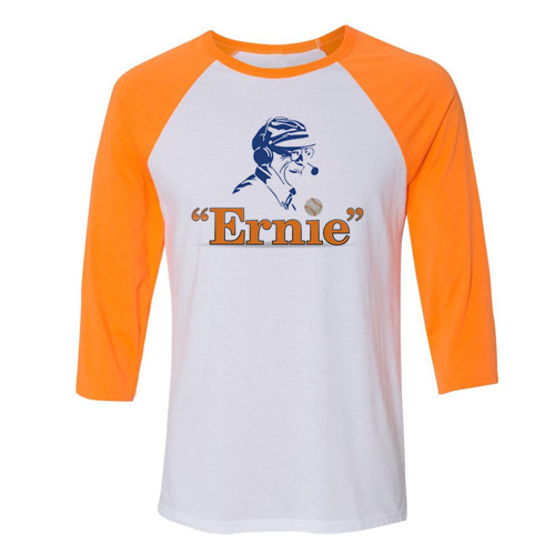 Ernie the Play Logo Orange Baseball Tee, Mid-sleeves