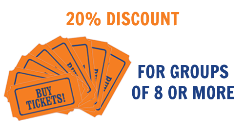 Groups of 8 or more receive a discount of 20%